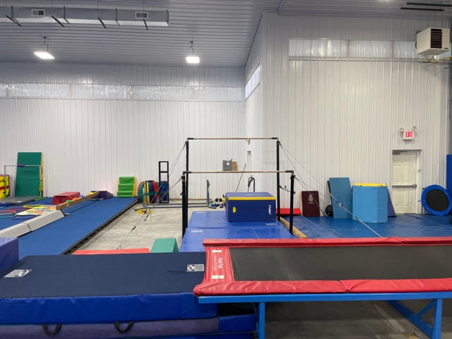 The uneven bars at the gym.