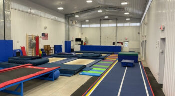 A photo of the gym and the trampolines.