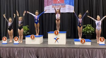 Several gymnasts on podiums at the USA Gymnastics Championships.