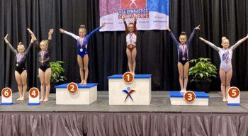 A close up of several girls at the USA Gymnastics championships.